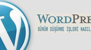wordpress sürüm düşürme işlemi nasıl yapılır