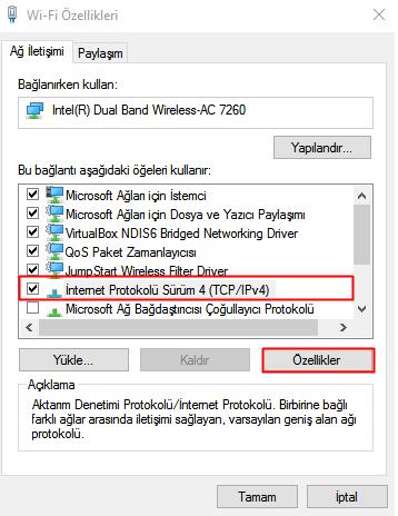 windows 10 dns ayarlarını değiştirme 3
