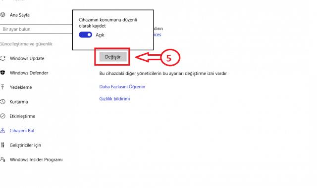windows 10 cihazımı bul özelliği aktif etme 4