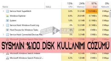 sysmain 100 disk kullanımı çözümü
