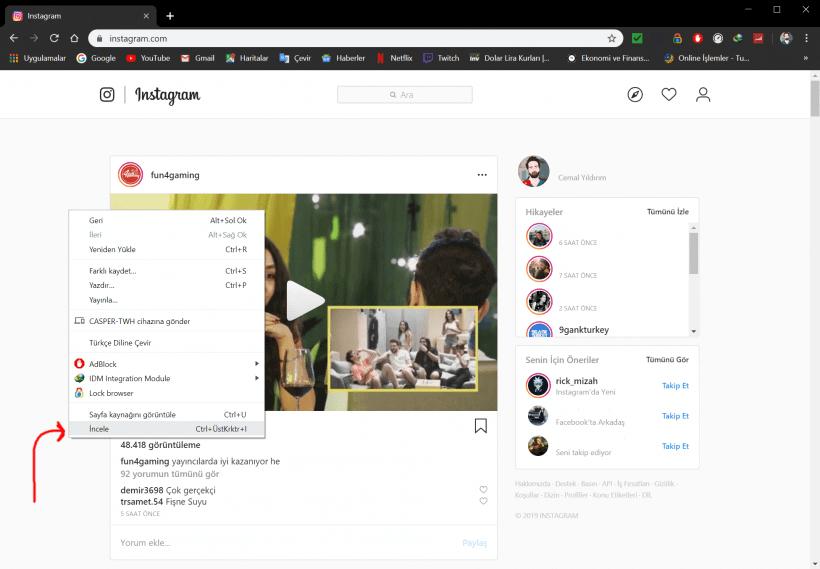 bilgisayardan instagram mesajı atmak programsız 2